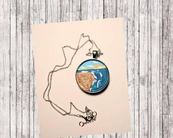 Silver Pendant with Beach line painting