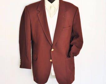 Men's Blazer 44R 44S Jacket Plum XL Vintage Arnie Sport Coat w/ Gold Buttons X-Large Big Tall Man 1980's