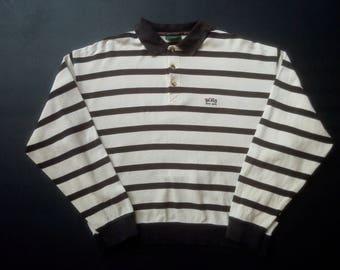 Vintage Hugo Boss Rare Golf Stripe 80s 90s Long Sleeve Stripe Tshirt