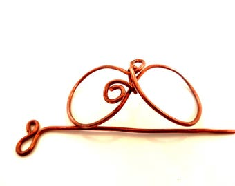 Hair clip Bobby pin infinity pattern, - copper - hair accessory