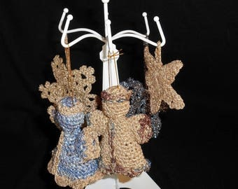 Christmas decorations hanging in wool, set of 5