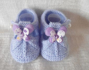 Baby wool sandalette Purple Butterfly shape
