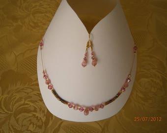 Set 3 fancy pieces pink color swarovski crystal