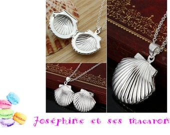 Scallop Shell 1 pendant in silver plated