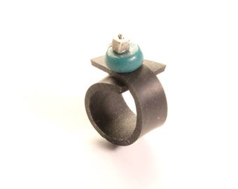 Ring in inner tube recycled car Turquoise