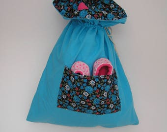Flower child in turquoise blue cotton and lined in cotton bag