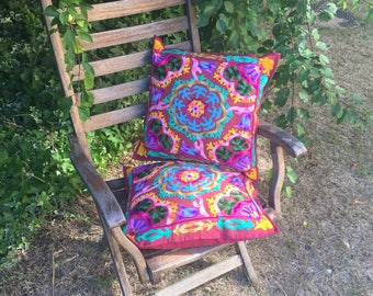Colourful Indian boho embroidered cushion cover in red