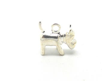 Silver color metal 3d dog charm