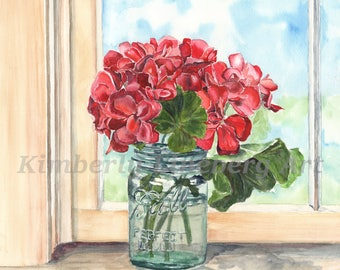 Geraniums 11x14, Mason Jar print, Blue Ball Jar, Red flowers, Glass jar painting, Watercolor Print,Gifts for her