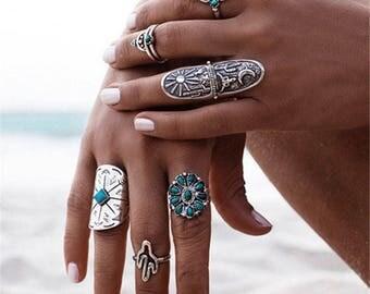 Set of 9 beautiful rings BOHEMIAN silver Turquoise