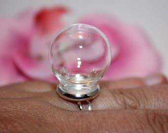 1 ring silver paste 16.5 mm glass Globe