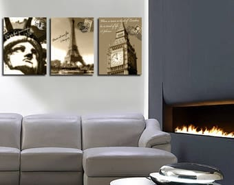 Table decor triptych London Paris New York 3 x (45 x 60)