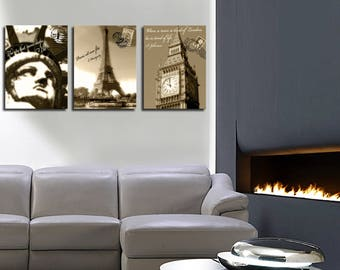 Table decor triptych London Paris New York 3 x (45 x 60)