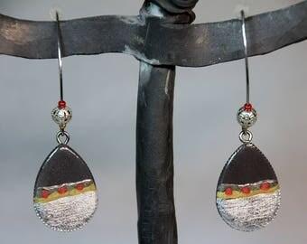 Waxed - concrete earrings silver - silver foil