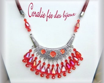 Necklace ethnic bib, glitter and Red Crystal beads