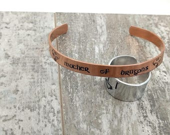 Mother of Dragons Copper Cuff - Hammered Handstamped Handmade
