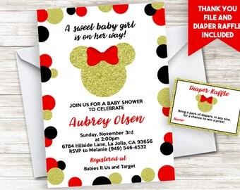Minnie Baby Shower Invitation Invite Red Gold Black Digital 5x7 Mouse Inspired Glitter Girl