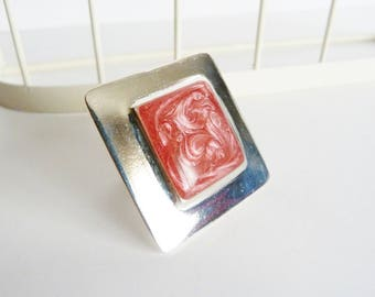 Large square ring rose, adjustable, plated silver