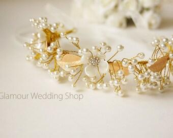 Wedding Headband Bridal Hair Jewelry Bridal Headband Wedding Headpiece Gold  Hair Accessories Bridal Hair