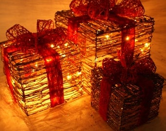 3 Piece Lighted Gift Boxes Christmas Yard Art Decoration set. Unique Holiday Decoration, Gift Box Decoration, Lighted Present