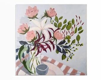 Flowers in a Vase, Floral Art, Original Paintings, Wood Paintings, For Art Galleries, Flower Blooming, Pastel Wall Decor