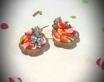 Earrings greedy whipped cream waffle Strawberry polymer clay
