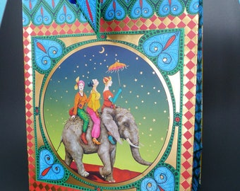 18 very resistant paper gift bag x 23 cm elephant night Moon Star woman Arabian night
