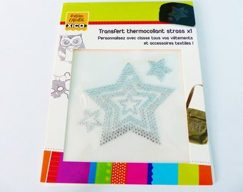 Silver Star thermo transfer pattern iron-on rhinestone personalize your clothing and textile accessories