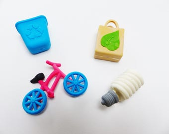 Set of 4 rubber erasers green bike bicycle tri grocery bag energy saving bulb selective collection Kit Office gum