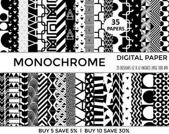 digital paper, digital papers, monochrome, digital pattern, commercial use, scrapbooking paper, scrapbook paper, digital paper pack, collag