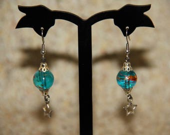 Earrings turquoise blue glass bead and silver metal star