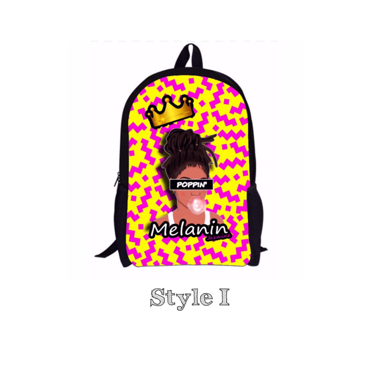 Retro 90 s Theme Melanin Poppin Black Girl Magic Natural Hair Custom  Backpack 1849cc714d066