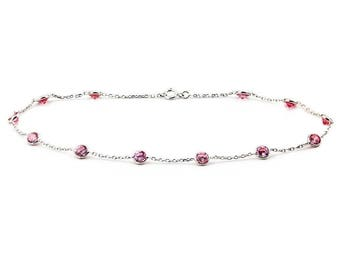 14k White Gold Anklet Bracelet With 4mm Pink Round Shaped Cubic Zirconia By the Yard (9, 9.5, 10, 10.5 and 11 Inches)