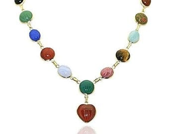 14K Yellow Gold Handmade Scarab Gemstone Necklace With A Heart Shape Drop