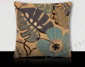 """Garden"" flowers/foliage and fruit Design cushion exotic-Turquoise Blue/indigo/White/Navy background taupe"