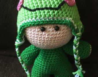 """Crochet Amigurumi Doll Frog """"Froggy"""""""
