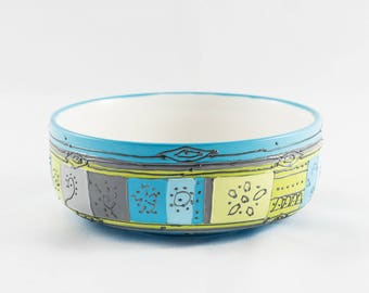Round porcelain ramekin colors hand painted blue and green