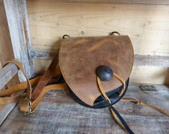 """""""Antique Brown"""" front black purse bag"""