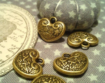 "Set of 5 charms heart shaped symbol ""longevity"" with antique bronze Chinese inscriptions, creating jewelry, accessories, Valentine's day"
