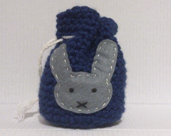 dark grey rabbit pattern crochet blue bag purse