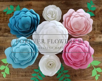 READY TO SHIP! Gender Reveal Set: Large Customizable Paper Flower Backdrop Display Pink & Blue(7 flowers)Perfect for a party, event or decor