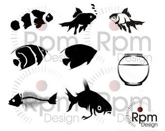 Fish SVG file, Gold Fish, Fish EPS file, Goldfish, fishbowl, Silhouette, Bundle, Vector, Digital, High Quality, Cuttable,EPS Cricut