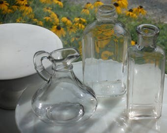 Vintage Glass Bottles Set of 3,Foster Forbes Glass Company,Wedding Decor,Bud Vase