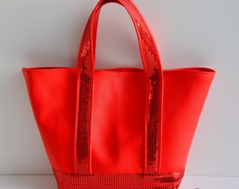 Handbag faux leather red glitter handmade @lacoutuebytitia women's fashion