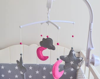 Baby butterfly Moon and cloud grey and fuchsia @lacouturebytitia musical mobile