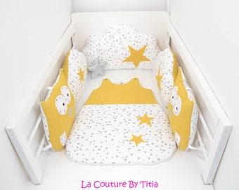 Tour de Lit nuage coussins hibou, chouette pluie d'étoiles gris, blanc et étoiles moutarde @lacouturebytitia
