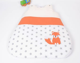 Sleeping bag sleeping bag 0-6 months handmade White Star Fox orange, grey and beige @lacouturebytitia