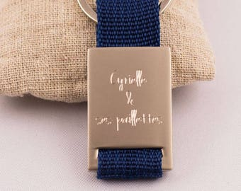 Fabric key chain and Metal engraved personalized