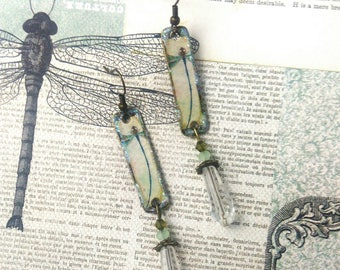long earrings in metal bronze dragonfly, cabinet of curiosities and Bohemian style jewelry
