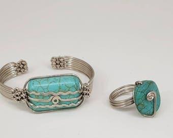 African Handmade Turquoise Set- (Bracelet & Ring).  Stone Art. Made in Africa.  Unique Bracelet. Art